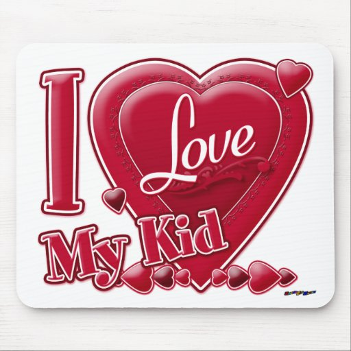 I Love My Kid red - heart Mouse Pad