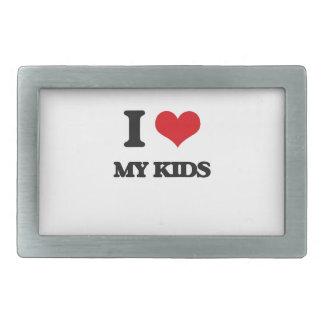 I Love My Kids Rectangular Belt Buckle
