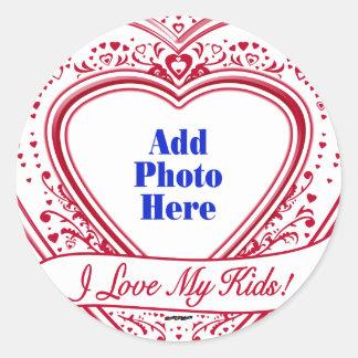 I Love My Kids! Photo Red Hearts Classic Round Sticker