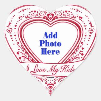 I Love My Kids! Photo Red Hearts Heart Sticker