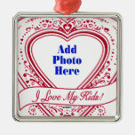 I Love My Kids! Photo Red Hearts Ornaments