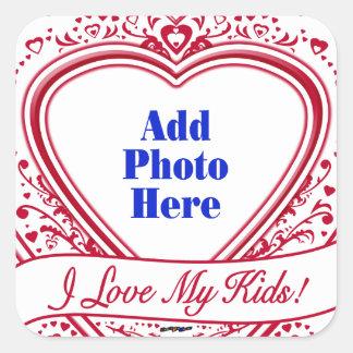 I Love My Kids! Photo Red Hearts Square Sticker