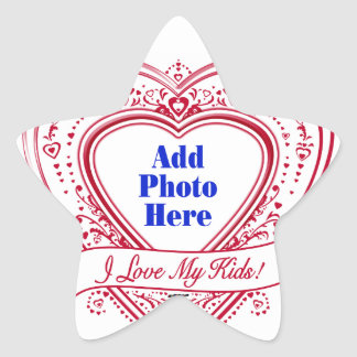 I Love My Kids! Photo Red Hearts Star Sticker