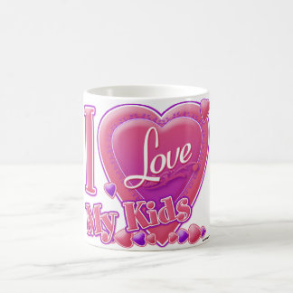 I Love My Kids pink/purple - heart Coffee Mug