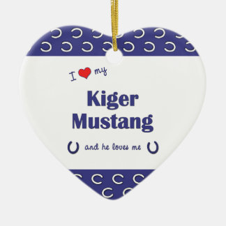 I Love My Kiger Mustang (Male Horse) Christmas Tree Ornaments