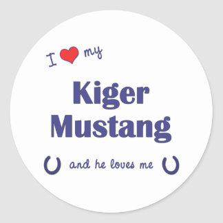 I Love My Kiger Mustang (Male Horse) Classic Round Sticker