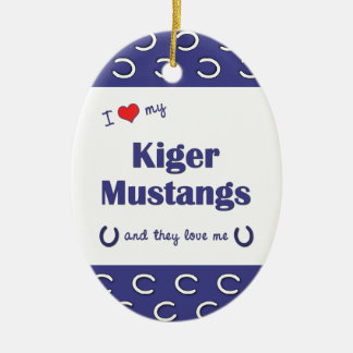 I Love My Kiger Mustangs (Multiple Horses) Christmas Ornaments