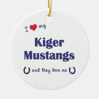 I Love My Kiger Mustangs (Multiple Horses) Ornaments