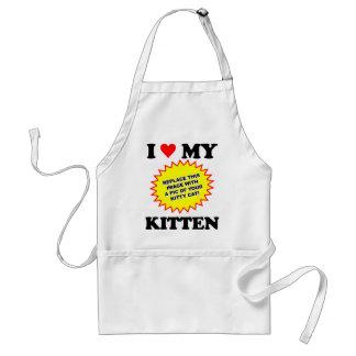 I Love My Kitten CUSTOMIZABLE Adult Apron