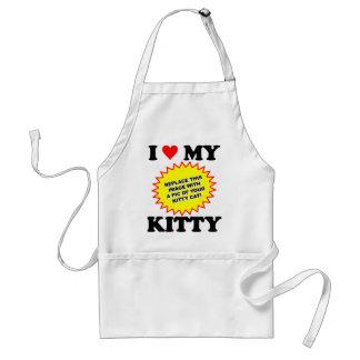 I Love My Kitty CUSTOMIZABLE Adult Apron
