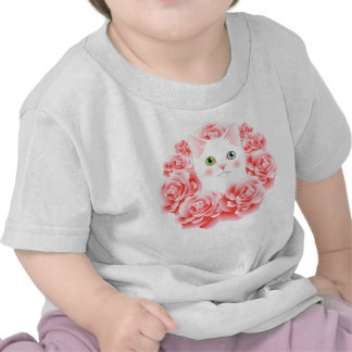 I Love My Kitty Pink Roses Cat Cute Baby Shirt