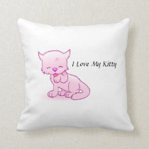 I Love My Kitty Throw Pillow