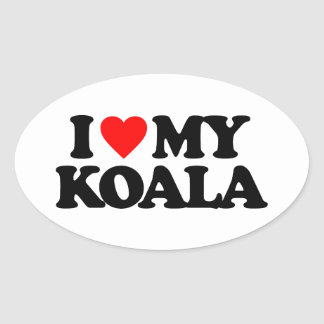 I LOVE MY KOALA OVAL STICKER