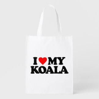 I LOVE MY KOALA GROCERY BAGS