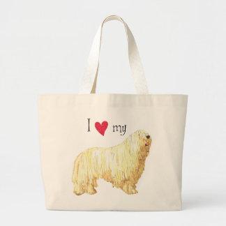 I Love my Komondor Large Tote Bag