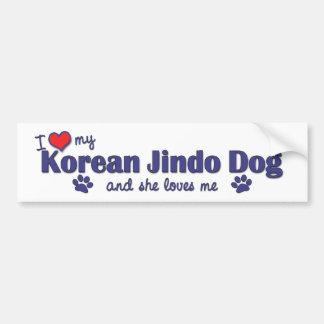 I Love My Korean Jindo Dog (Female Dog) Bumper Sticker