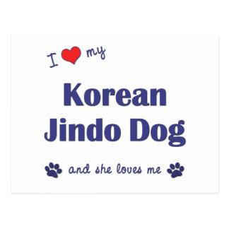 I Love My Korean Jindo Dog (Female Dog) Postcard