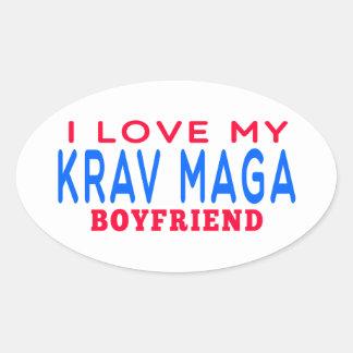I Love My Krav Maga Boyfriend Oval Sticker