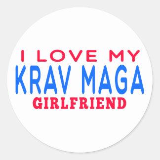 I Love My Krav Maga Girlfriend Classic Round Sticker