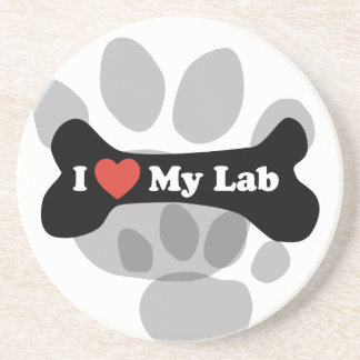 I Love My Lab - Dog Bone Drink Coaster