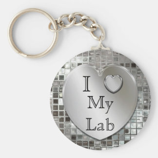 I Love My Lab Heart Keychain