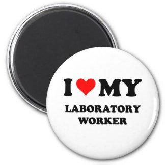 I Love My Laboratory Worker 2 Inch Round Magnet