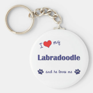 I Love My Labradoodle (Male Dog) Basic Round Button Keychain