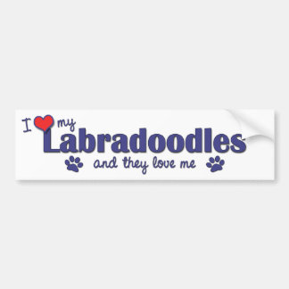I Love My Labradoodles (Multiple Dogs) Car Bumper Sticker