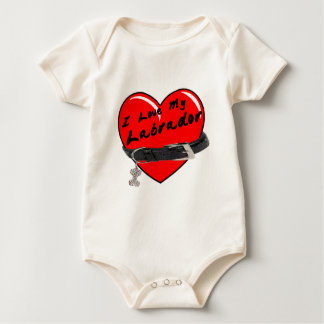 I Love My Labrador Heart with Dog Collar Baby Bodysuit