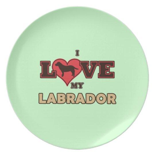 I Love my Labrador Melamine Plate