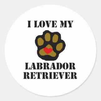 I Love My Labrador Retriever Classic Round Sticker