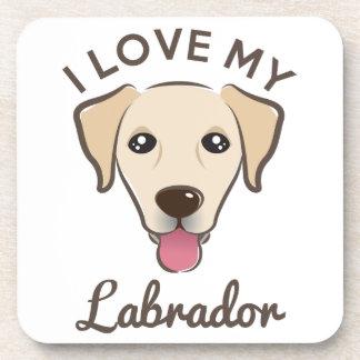 """I Love My Labrador"" Yellow Lab Coaster Set"