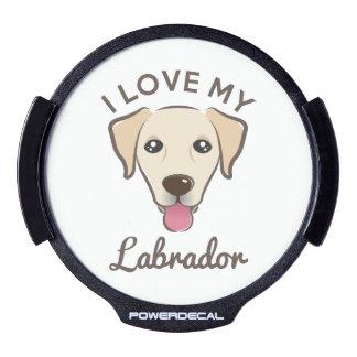 """I Love My Labrador"" Yellow Lab LED Window Decal"