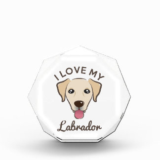 """I Love My Labrador"" Yellow Lab Paperweight Awards"
