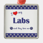 I Love My Labs (Multiple Dogs) Christmas Ornaments