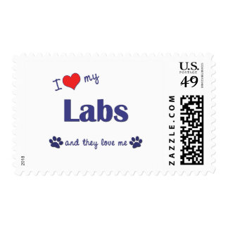 I Love My Labs (Multiple Dogs) Postage Stamps