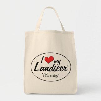 I Love My Landseer (It's a Dog) Tote Bags