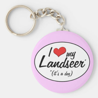 I Love My Landseer (It's a Dog) Keychain
