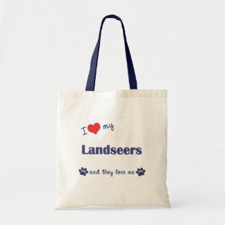 I Love My Landseers (Multiple Dogs) Tote Bags