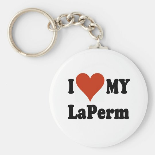 I Love My LaPerm Cat Merchandise Keychain