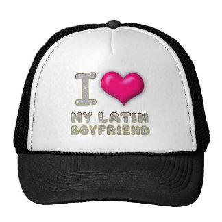 I Love My Latin Boyfriend Bling Diamonds and Heart Trucker Hat