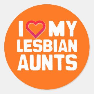 I LOVE MY LESBIAN AUNTS CLASSIC ROUND STICKER