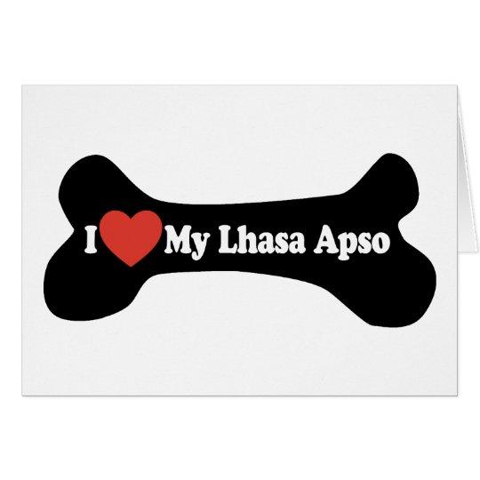 I Love My Lhasa Apso - Dog Bone Card