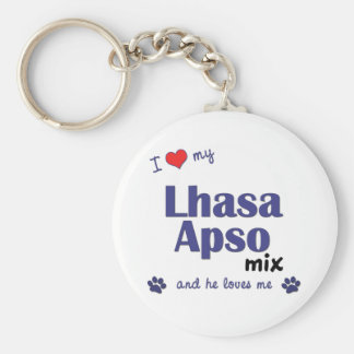 I Love My Lhasa Apso Mix (Male Dog) Keychain