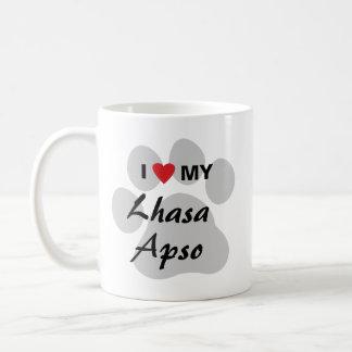 I Love My Lhasa Apso Pawprint Coffee Mug