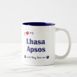 I Love My Lhasa Apsos (Multiple Dogs) Two-Tone Coffee Mug