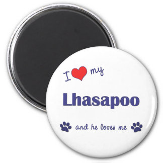 I Love My Lhasapoo (Male Dog) 2 Inch Round Magnet