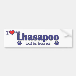 I Love My Lhasapoo (Male Dog) Bumper Sticker