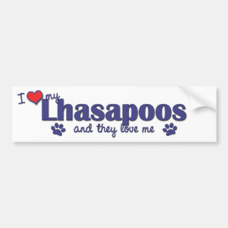 I Love My Lhasapoos (Multiple Dogs) Bumper Sticker
