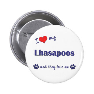 I Love My Lhasapoos (Multiple Dogs) Button
